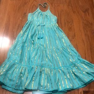 Beautiful blue with gold stripe dress NWT